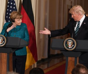 President Donald Trump meets with Angela Merkel at White House