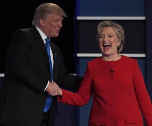 Hillary Clinton and Donald Trump share the stage at first presidential debate of 2016