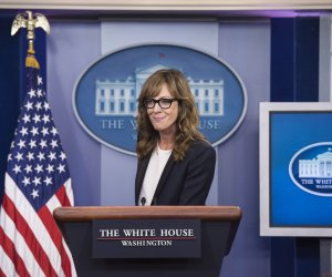 Actress Allison Janney speaks at the White House Daily Briefing