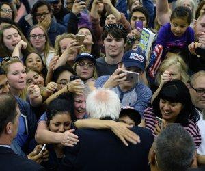 Bernie Sanders campaigning in San Bernardino, Calif.