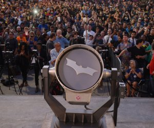 Adam West honored with a bat signal at Los Angeles City Hall