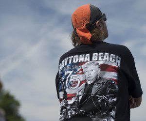 Presumptive Republican presidential nominee Donald Trump speaks at Rolling Thunder