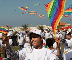 Palestinian students fly kites to show solidarity with Japan