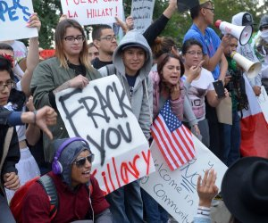 Protesters swarm supporters of Hillary Clinton at East Los Angeles College