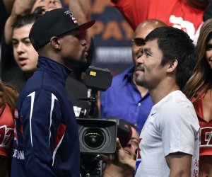 Floyd Mayweather and Manny Pacquiao Weigh-In ahead of fight