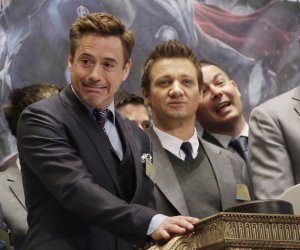 Jeremy Renner and Robert Downey, Jr. at the NYSE