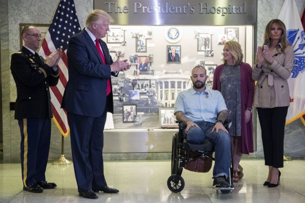 President Trump presents the Purple Heart at Walter Reed National Military Medical Center