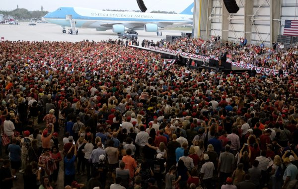 President Donald Trump holds a Rally at Orlando-Melbourne International Airport