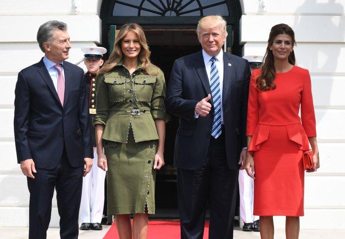 President Trump greets Argentine President Macri