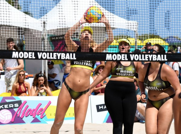 Models Take Part In A Beach Volleyball Tournament In Miami