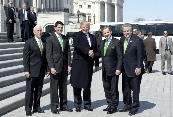 U.S. President Donald Trump attends the Friends of Ireland Luncheon