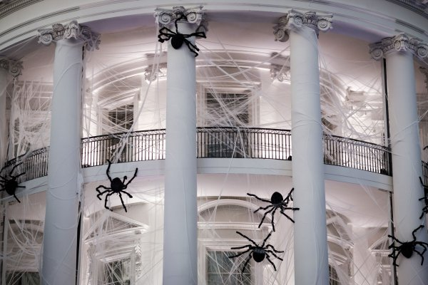 White House Decorated For Halloween Part - 37: The South Portico Was Draped In Decorations Including Spider Webs, Large  Black Spiders And Plastic Bats.