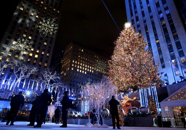 New York During Christmas Time.Rockefeller Center National Christmas Trees Lit In New York