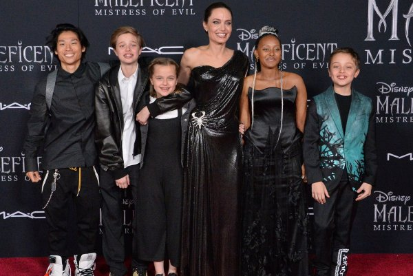 Angelina Jolie And Children Attend Maleficent Mistress Of