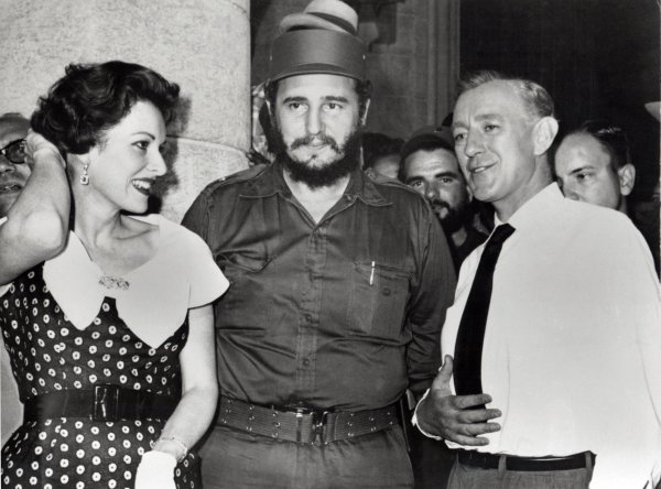 Fidel Castro, Maureen O'Hara and Alec Guinness