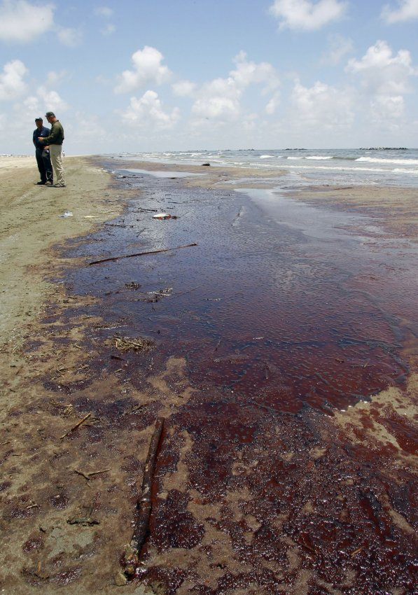 Oil washes ashore at Grand Isle Louisiana from the sunken BP Deepwater Horizon oil rig