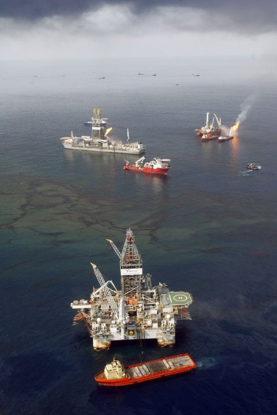 Oil and gas are burned near the BP Deepwater Horizon spill