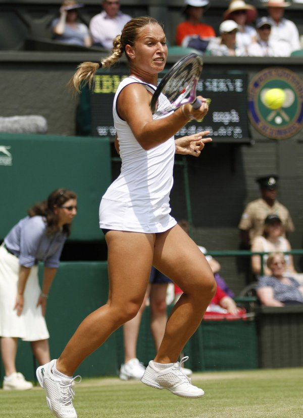 Slovakian Dominka Cibulkova plays against American Serena Williams at the Wimbledon Championships