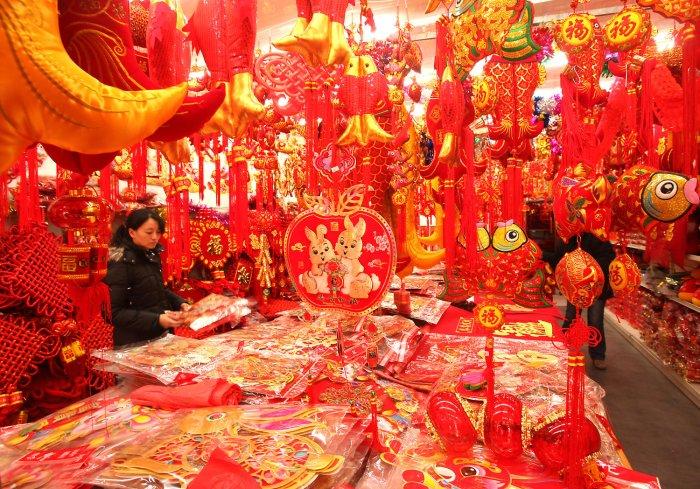 China celebrates lunar new year - Lunar new year decorations ...
