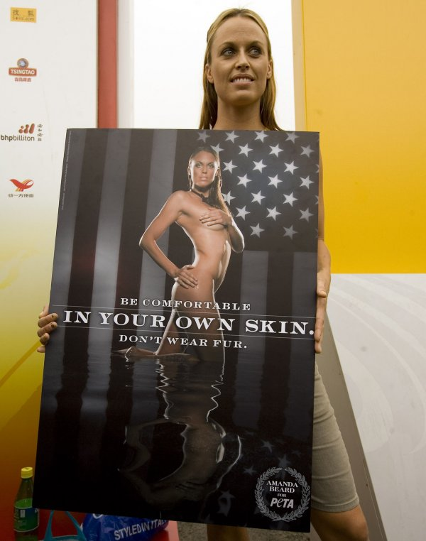 Amanda Beard unveils sexy ad for PETA in Beijing