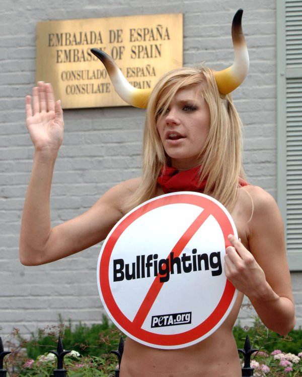 PETA PROTESTS BULL FIGHTING AT SPANISH EMBASSY