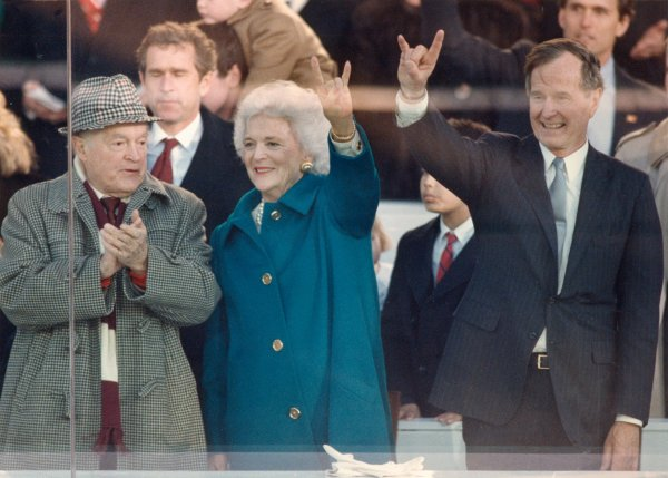 President George and Mrs. Barbara Bush, Bob Hope and George W. Bush