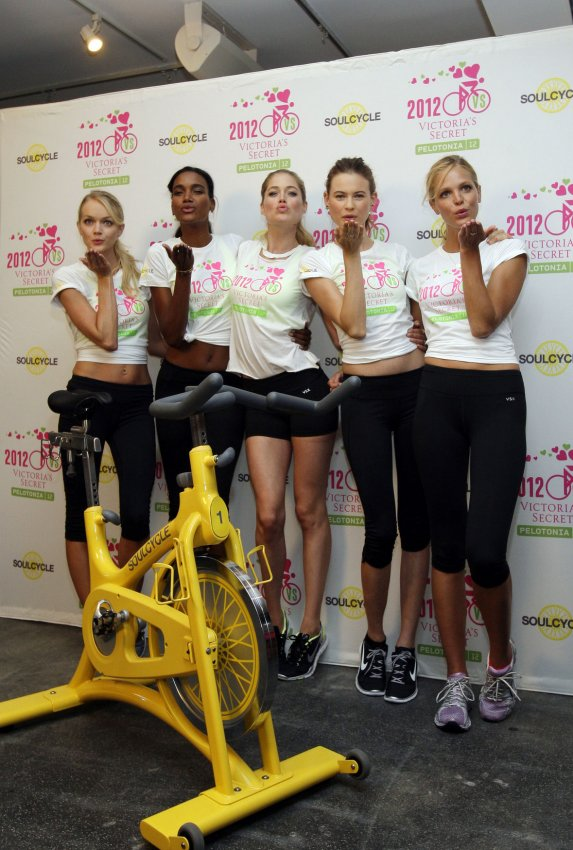 Victoria's Secret models cycle ride for cancer research in New York