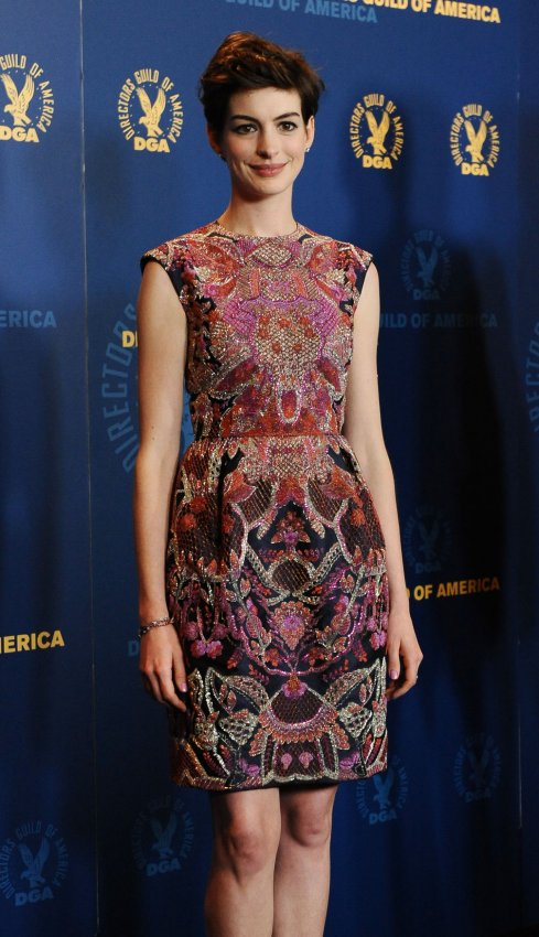 Anne Hathaway appears backstage at 65th annual DGA Awards in Los Angeles