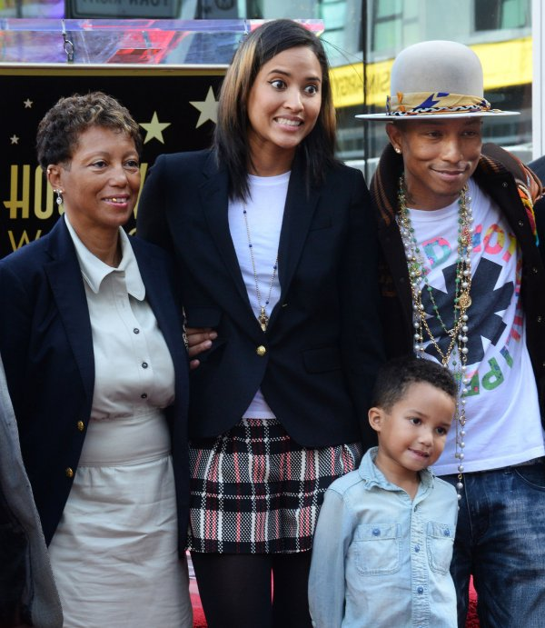 Pharrell Williams with wife Helen, son Rocket, and mother Carolyn