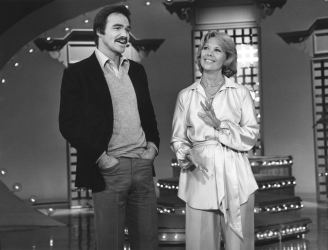 Dinah Shore welcomes Burt Reynolds on her show