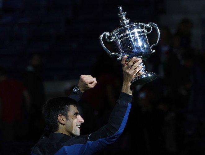 Novak Djokovic of Serbia wins at the US Open