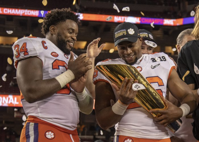 Clemson Tigers Adam Choice holds Dr. Pepper National College Championship Trophy