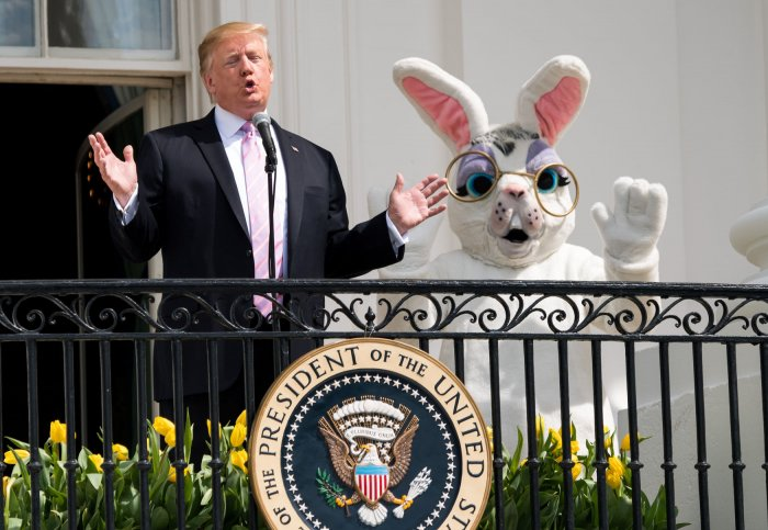 President Trump at the First Lady host the White House Easter Egg Roll