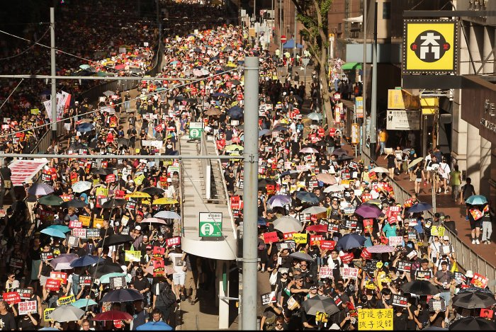 Protesters Demonstrate in Hong Kong on the Anniversary of the Handover