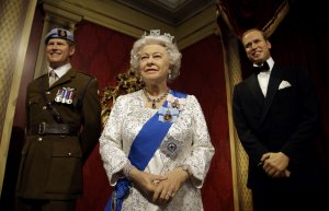 Wax figures of Queen Elizabeth and family