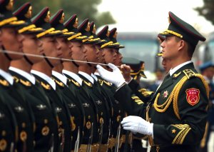 Soldiers perform honor guard duties in Beijing