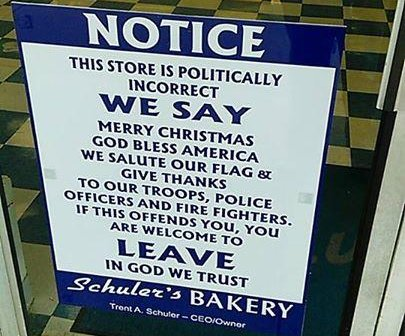 Pastelería en Ohio coloca cartel advirtiendo que es 'políticamente incorrecta'