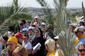 Cristianos llevan ramas de palma durante la procesión del Domingo de Ramos en el Monte de los Olivos en Jerusalén