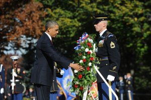 President Obama participates in a wreath-laying ceremony on Veteran's Day