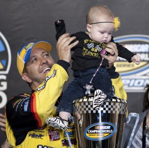 wins the 2013 NASCAR Camping World Truck Series Race at the Homestead-Miami Speedway in Homestead, Florida