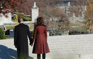 President Barack Obama Lays a Wreath at President Kennedy's Gravesite in Arlington