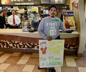 Fast food workers protest at a McDonald's restaurant in Los Angeles