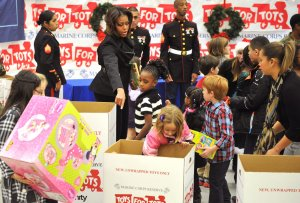 First Lady Michelle Obama helps Toys For Tots in Washington, D.C.