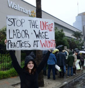Protesters demand Walmart provide a living wage and full-time work in Los Angeles