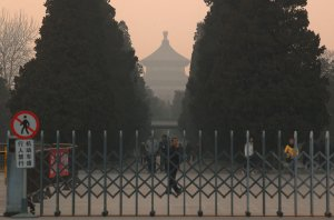 Heavy pollution hangs over the Temple of Heaven in Beijing