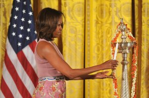 First Lady Michelle Obama celebrates Diwali in Washington