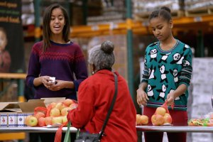 The Obama Family takes part in a service event In Washington, DC