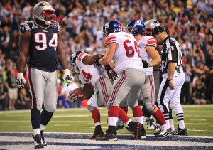 The Giants Bradshaw Scores the Game-Winning Touchdown during Super Bowl XLVI in Indianapolis