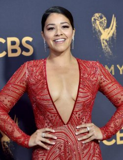 Gina Rodriguez attends the 69th annual Primetime Emmy Awards in Los Angeles
