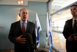 Israel Prime Minister Benjamin Netanyahu Makes Statement On Iran Before Meeting US Secretary Of State John Kerry